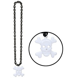 Black Chain Beads with Skull and Crossbones Medallion (1/pkg)