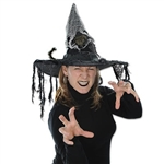 The Witch Hat w/Rat is a creepy accessory for any witch costume. Adorned with a combination of black and white netting, with a fake rat extending in the front and back. Approximately 22 inches inner circumference. No returns accepted.
