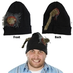 The Rat Knit Cap is the perfect accessory for a zombie or gory Halloween costume. A black stretch-knit cap is adorned with a furry rat protruding from both the front and back of this hat. One size fits most. No returns.