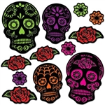 The Day Of The Dead Sugar Skull Cutouts will look great attached to walls! Printed on card stock, each double-sided cutout features an intricately printed design on either flowers or skulls. Colors of cerise, green, purple, red, and orange. 12 per pkg