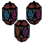 These printed card stock Day Of The Dead Paper Lanterns are a perfect party decoration for your next Day of the Dead celebration. Each lantern measures 7 inches tall and 3.5 inches wide. 3 lanterns per pkg. Black with multi color printing.