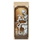 The Mummy Restroom Door Cover is made of all weather plastic material and measures 30 in by 6 ft. Printed on the front is a mummy sitting on the toilet wrapped in toilet paper. Indoor and outdoor use. Printed one side only. Contains one per package.