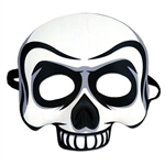 The Skull Half Mask is made of white molded plastic with black and grey highlights. Has elastic attached. Measures approximately 6 1/2 in wide and 6 3/4 in tall. One size fits most. Contains one per package. No returns.
