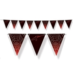 The Elvira Pennant Streamer is made of cardstock and printed on one side. Consists of alternating pennants printed with Elvira's signature and a spider web design. Measures 7 1/2 inches tall and 6 feet long. One per package. Simple assembly required.