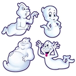 These cute Ghosts Cutouts aren't very scary, but they look like they are having fun! Each package includes four different ghosts, each with a different facial expression and pose. Made of printed card stock and printed on both sides. 15.5 to 19 inches