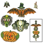 The Vintage Halloween Totem Pole Cutouts are made of cardstock and printed on two sides. Sizes range in measurement from 6 inches to 28 inches. Can be used together or separate. Contains 6 per package.