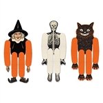 The Vintage Halloween Tissue Dancers are made of cardstock and tissue. Their heads, bodies, hands, and feet are made of cardstock with tissue arms and legs. Includes a witch, skeleton, and cat. Measure 14 inches. Completely assembled. Contains 3 per pack.