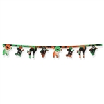 The Vintage Halloween Streamer is made of cardstock and printed on two sides. Measures 10 inches tall and 6 feeet 11 inches long. Contains one per package. Completely assembled.