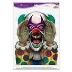 The Scary Clown Peeper measures approx 13 1/2 in tall and 11 in wide. Dressed in a colorful costume with blood splattered gloves. He has purple face paint, two different colored eyes, green hair, and sharp teeth. Removeable, easy to use. 1 per pack.