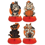 The Vintage Halloween Centerpieces are made of cardstock with a tissue base. Printed on two sides. Each package features a cat, clown, witch, and a goblin. They measure 9 inches tall. Completely assembled, open full round. Contains 4 per pack.