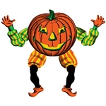 The Vintage Halloween Jointed Goblin is made of cardstock, printed on two sides. It has a jolly facial expression and is dressed in a green and yellow striped shirt, orange and yellow striped pants, and orange shoes. Measures 30 inches tall. (1) per pack.