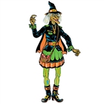 Celebrate Halloween with a blast from the past when you add this Vintage Halloween Jointed Witch to your decorations!  Recreated from the original artwork released in 1976, this fully jointed cut-out is a classic!  Stands 4.75' tall