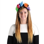 The Day Of The Dead Flower Headband is a black elastic headband covered in vibrant flowers and each has a skull in the middle. Fits full head size. One size fits most. No returns.