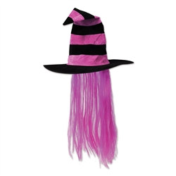 Pink Witch Hat with Purple Hair