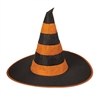 Nylon Witch Hat (Black and Orange)(1/Pkg)