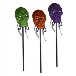 Assorted Glittered Plastic Skull On A Stick