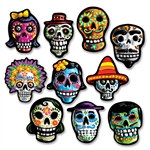 Mini Day Of The Dead Cutouts are the perfect way to add some festive colored skeletons to your celebration! These assorted skeleton heads come 10 to a package.