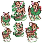 The Vintage Christmas Reindeer Cutouts are made of cardstock and printed on both sides. Features a reindeer riding a sleigh, wearing a wreath around its neck, and playing with holly berry with bells attached. 3 measure 10 in, 3 measure 14 in. (6) per pack