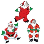 The Vintage Christmas Santa Cutouts are made of cardstock and printed on two sides. Measure 18 inches tall. They feature various Santa Clause's with different cheerful and jolly facial expressions/poses. Contains three (3) per package.
