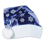 "Be the ""cool"" Santa!  Set the style at your holiday party with this metallic blue Santa hat.  The metallic blue fabric with white snowflakes adds a new twist to an old favorite!"