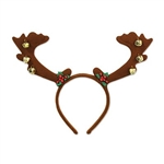 The Reindeer Antlers w/Bells  add a festive touch to your Christmas outfit. The brown felt antlers are attached to an easy to wear headband and adorned with little gold jingle bells with touches of holly leaves and berries. One size fits most. No returns.