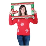 Ugly Sweater Photo Fun Frame creates a memorable photo commemorating an Ugly Sweater party! Perfect for office parties, 3 hand held props are included for added fun. Printed on card stock, in a traditional ugly sweater pattern of red and green.