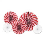 The Peppermint Accordion Paper Fans are an assortment of peppermint and white fans. 2 measure 9 inches, 2 measure 12 inches, and 1 measures 16 inches. Contains 5 per package.