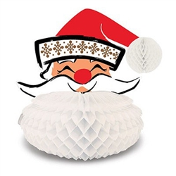 First introduced in 1966, this lovely card stock and tissue Santa Centerpiece consists of a jolly Santa faced atop a white honeycomb tissue beard. His beard opens fully round, allowing him to stand on any flat surface. Measures 10.5 inches tall. 1 per pkg