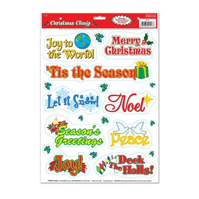 Christmas Window Clings (19 Clings Per Package)
