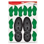 The Santa & Elf Footprints Peel 'N Place are perfect for reminding everyone that Santa's always watching. Each sheet contains 1 set of Santa footprints and 5 sets of elf footprints. Easy to use, removable, and adhere to most smooth surfaces. 1 per pack.