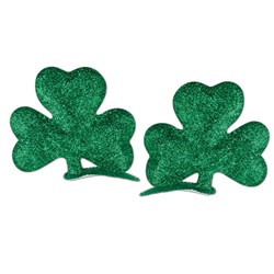 Glittered Shamrock Hair Clips (2/pkg)