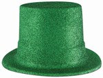 Green Glittered Plastic Top Hat