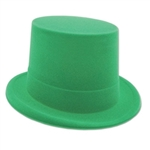 Green Velour Topper-Attend your next party or celebration in style with this Green Velour Topper.  This classic hat is just the thing for adding that finishing touch to your St. Patrick's Day, Mardi Gras or Halloween costume.