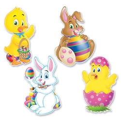 Cartoon Easter Cutouts (4/pkg)