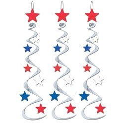 Red, Silver, and Blue Star Whirls (3/pkg)
