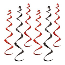 Black and Red Twirly Whirlys (6/pkg)