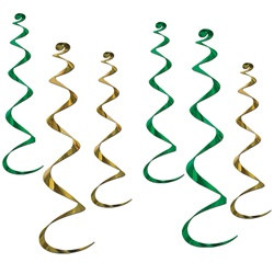 Green and Gold Twirly Whirlys (6/pkg)