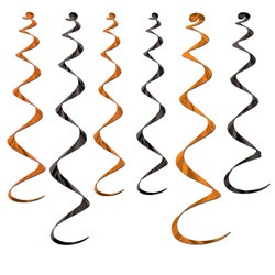 Orange and Black Twirly Whirlys (6/pkg)