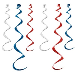 Red, White and Blue Twirly Whirlys (6/pkg)