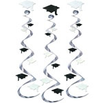Black and White Graduation Cap Whirls (3/Pkg)