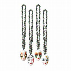 Braided Beads with Assorted Mime Medallion (1/pkg)