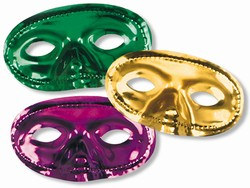 Mardi Gras Metallic Half Mask (Sold Individually)