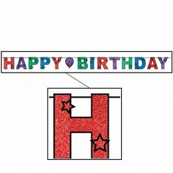 Glittered Happy Birthday Streamer, 8½inx10ft  (1/Pkg)