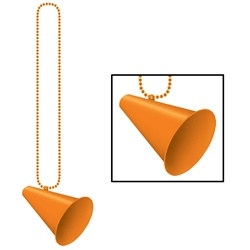 Orange Beads with Megaphone Medallion (1/pkg)
