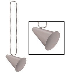 Silver Beads with Megaphone Medallion (1/pkg)