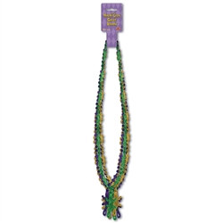 Mardi Gras Beads with Gator Medallion (6/pkg)