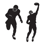 Two black and white Football Silhouettes designed to represent football players in different action poses like running and catching the ball. Each 31 inch tall silhouette will look great on your walls for the big game!