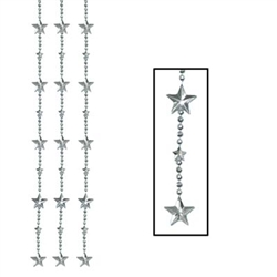 Metallic Silver Star Bead Curtain