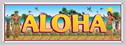 Tropical Beach Banner, 60 inches x 21 inches  (1/Pkg), all-weather w/4 grommets