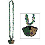 Braided Beads with Comedy and Tragedy Medallion (1/pkg)